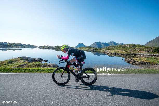 Ronnie Maas Pedersen on the bikeleg of The Arctic Triple // Lofoten Triathlon Extreme distance on August 19 2017 in Svolvar Norway Lofoten Triathlon...