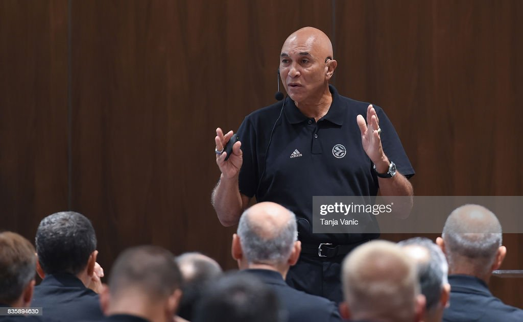 Ronnie Nunn, guest speaker from US addresses to the participants during the 26th Clinic for Euroleague Basketball Officials at Metropol Palace Hotel on August 20, 2017 in Belgrade, Serbia.