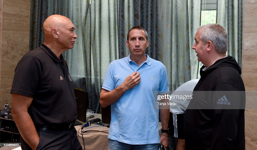 Ronnie Nunn, guest speaker from US, David Blatt, Darussafaka Head Coach and Richard Stokes, Officiating Director talking during the 26th Clinic for Euroleague Basketball Officials at Metropol Palace Hotel on August 20, 2017 in Belgrade, Serbia.