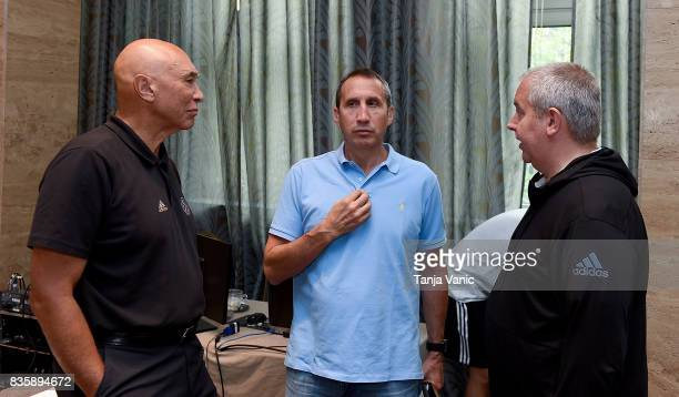 Ronnie Nunn guest speaker from US David Blatt Darussafaka Head Coach and Richard Stokes Officiating Director talking during the 26th Clinic for...