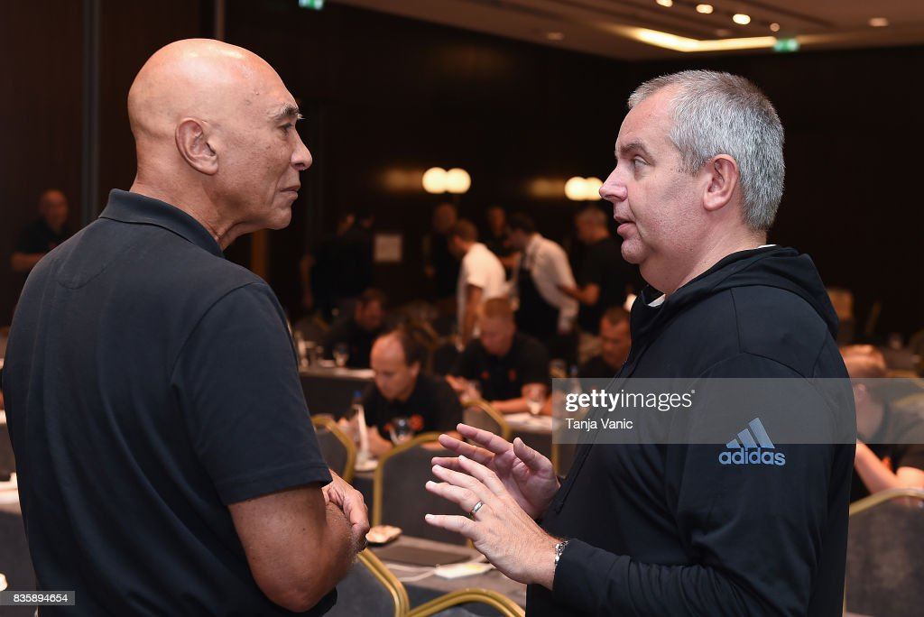 Ronnie Nunn, guest speaker from US talking to Richard Stokes, Euroelague Basketball Officiating Director during the 26th Clinic for Euroleague Basketball Officials at Metropol Palace Hotel on August 20, 2017 in Belgrade, Serbia.