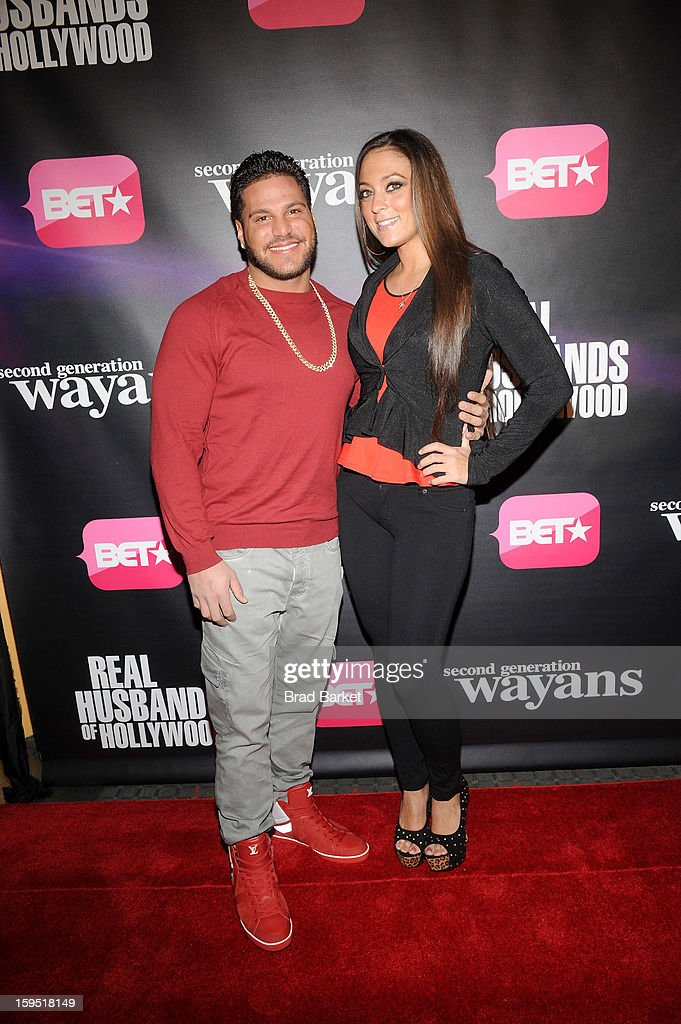 Ronnie Ortiz-Magro and Samantha Giancola attend BET Networks New York Premiere Of 'Real Husbands of Hollywood' And 'Second Generation Wayans' at SVA Theater on January 14, 2013 in New York City.