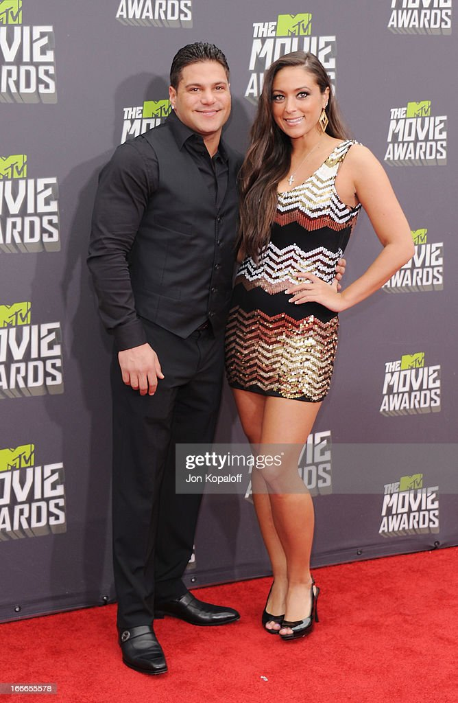 Ronnie Ortiz-Magro and Sammi 'Sweetheart' Giancola arrive at the 2013 MTV Movie Awards at Sony Pictures Studios on April 14, 2013 in Culver City, California.