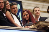 Ronnie OrtizMagro Sammi Giancola Paul 'Pauly D' DelVecchio Nicole 'Snooki' Polizzi and Vinny Guadagnino ring the opening bell at the New York Stock...