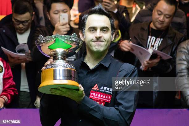 Ronnie O'Sullivan of England celebrates after winning the final match against Judd Trump of England on day six of 2017 Shanghai Masters at Shanghai...