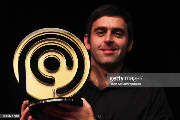 Ronnie O'Sullivan of England celebrates his victory over Ding Junhui of China in the Final of the inaugural Power Snooker Tournament held at The O2...