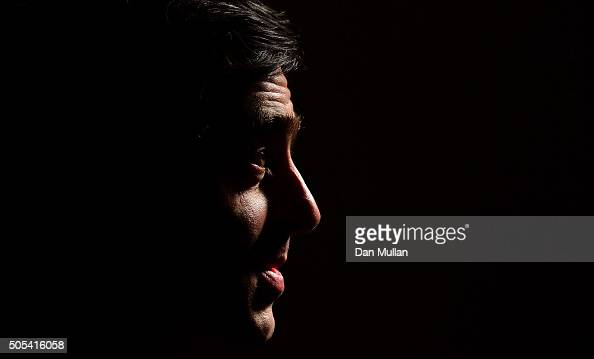 Ronnie O'Sullivan of England faces the media following his victory over Barry Hawkins of England in the final match during Day Eight of The Dafabet...