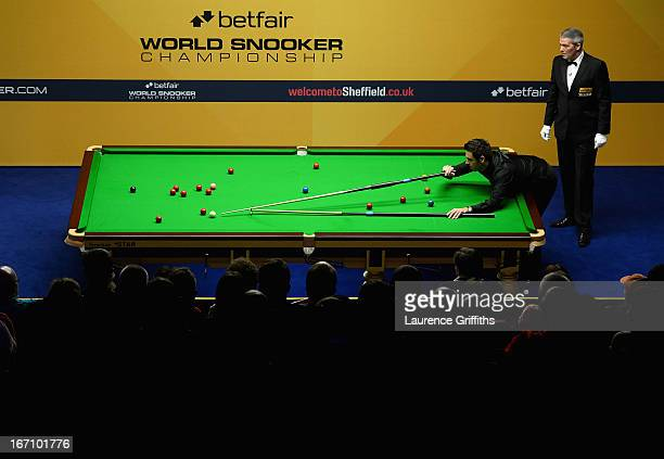 Ronnie O'Sullivan of England in action during his match against Marcus Campbell of Scotland during the Betfair World Snooker Championship at the...