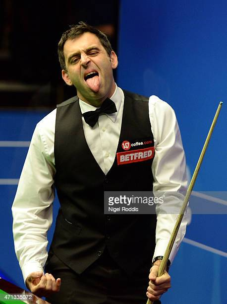 Ronnie O'Sullivan of England reacts during his match against Craig Steadman of England during day five of the 2015 Betfred World Snooker Championship...