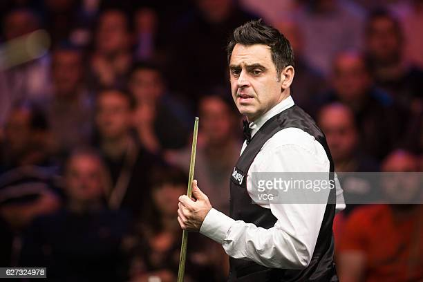 Ronnie O'Sullivan of England reacts during the quarterfinal match against Mark J Williams of Wales on day 11 of Betway UK Championship 2016 at...