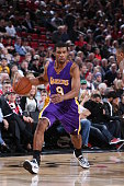 Ronnie Price of the Los Angeles Lakers brings the ball up court against the Portland Trail Blazers on January 5 2015 at the Moda Center in Portland...