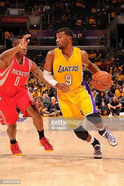 Ronnie Price of the Los Angeles Lakers handles the ball against the Houston Rockets on October 28 2014 at the Staples Center in Los Angeles...