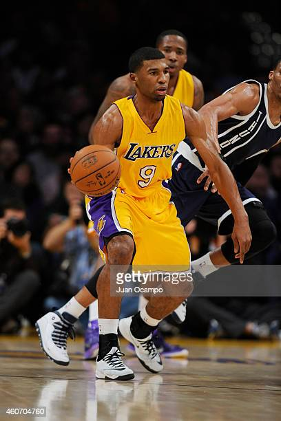 Ronnie Price of the Los Angeles Lakers handles the ball against the Oklahoma City Thunder at STAPLES Center on December 19 2014 in Los Angeles...