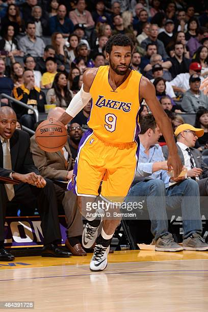 Ronnie Price of the Los Angeles Lakers handles the ball against the Brooklyn Nets during the game on February 20 2015 at STAPLES Center in Los...