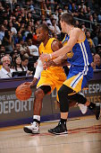 Ronnie Price of the Los Angeles Lakers handles the basketball during a game against the Golden State Warriors on October 9 2014 at the Staples Center...