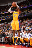 Ronnie Price of the Los Angeles Lakers shoots the basketball during a game against the Phoenix Suns on October 21 2014 at the Honda Center in Anaheim...