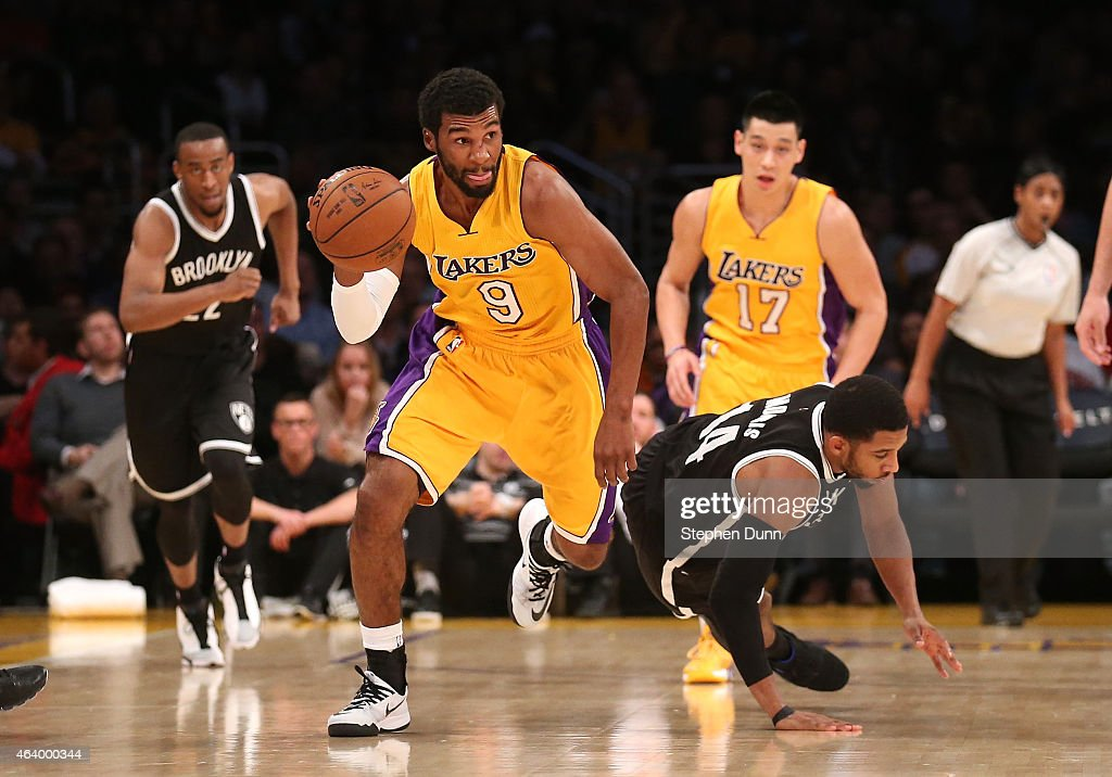 Ronnie Price of the Los Angeles Lakers starts a break after stealing the ball from Darius Morris of the Brooklyn Nets at Staples Center on February...