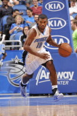 Ronnie Price of the Orlando Magic dribbles up the court against the New Orleans Pelicans the game on October 25 2013 at Amway Center in Orlando...