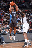 Ronnie Price of the Orlando Magic takes a shot against the Brooklyn Nets on April 13 2014 at the Barclays Center in Brooklyn New York NOTE TO USER...