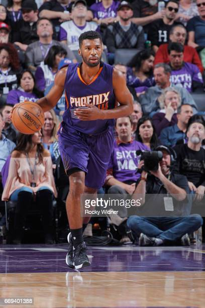 Ronnie Price of the Phoenix Suns brings the ball up the court against the Sacramento Kings on April 11 2017 at Golden 1 Center in Sacramento...