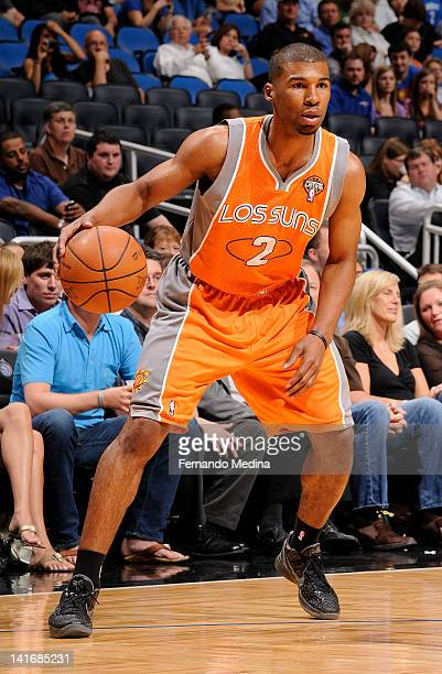 Ronnie Price of the Phoenix Suns controls the ball during the game against the Orlando Magic on March 21 2012 at Amway Center in Orlando Florida NOTE...