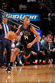 Ronnie Price of the Phoenix Suns drives to the basket against the Houston Rockets during the game on April 7 2016 at Toyota Center in Houston Texas...