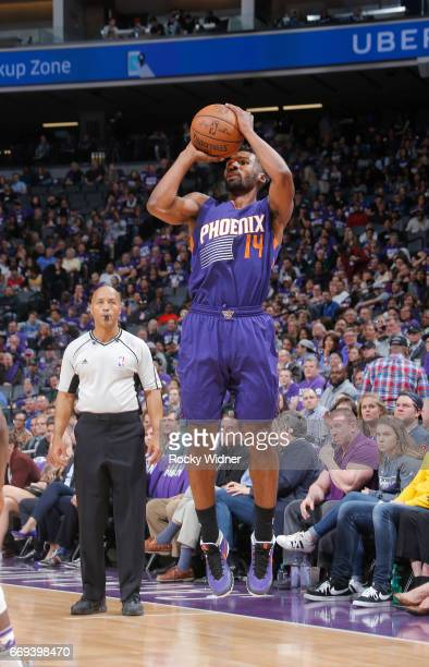 Ronnie Price of the Phoenix Suns shoots a three pointer against the Sacramento Kings on April 11 2017 at Golden 1 Center in Sacramento California...
