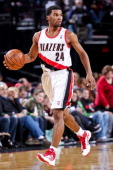 Ronnie Price of the Portland Trail Blazers brings the ball up court against the Orlando Magic on January 7 2013 at the Rose Garden Arena in Portland...