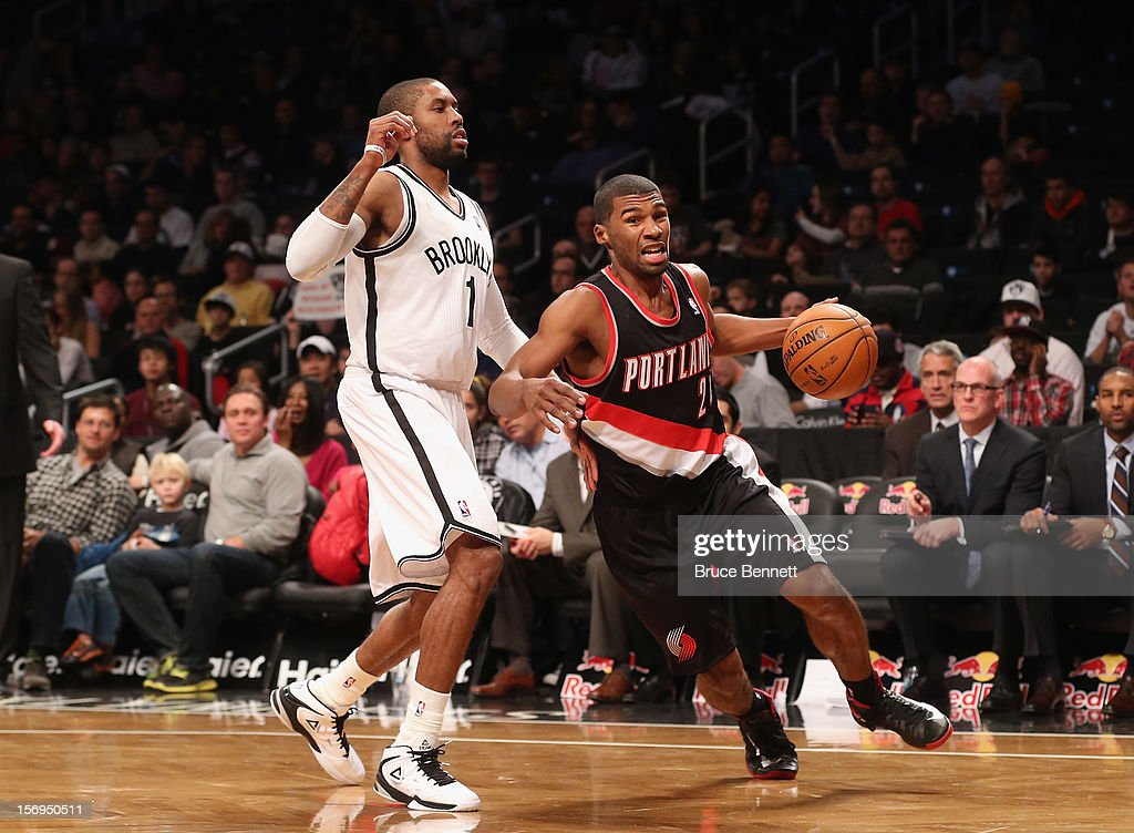 Ronnie Price #24 of the Portland Trail Blazers dribbles the ball against the Portland Trail Blazers at the Barclays Center on November 25, 2012 in the Brooklyn borough of New York City.