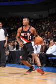 Ronnie Price of the Portland Trail Blazers dribbles the ball against the Los Angeles Lakers during a preseason game at Citizens Business Bank Arena...