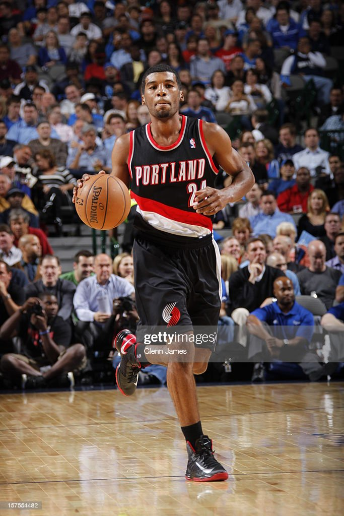 <a gi-track='captionPersonalityLinkClicked' href=/galleries/search?phrase=Ronnie+Price&family=editorial&specificpeople=654750 ng-click='$event.stopPropagation()'>Ronnie Price</a> #24 of the Portland Trail Blazers dribbles the ball upcourt against the Dallas Mavericks on November 5, 2012 at the American Airlines Center in Dallas, Texas.