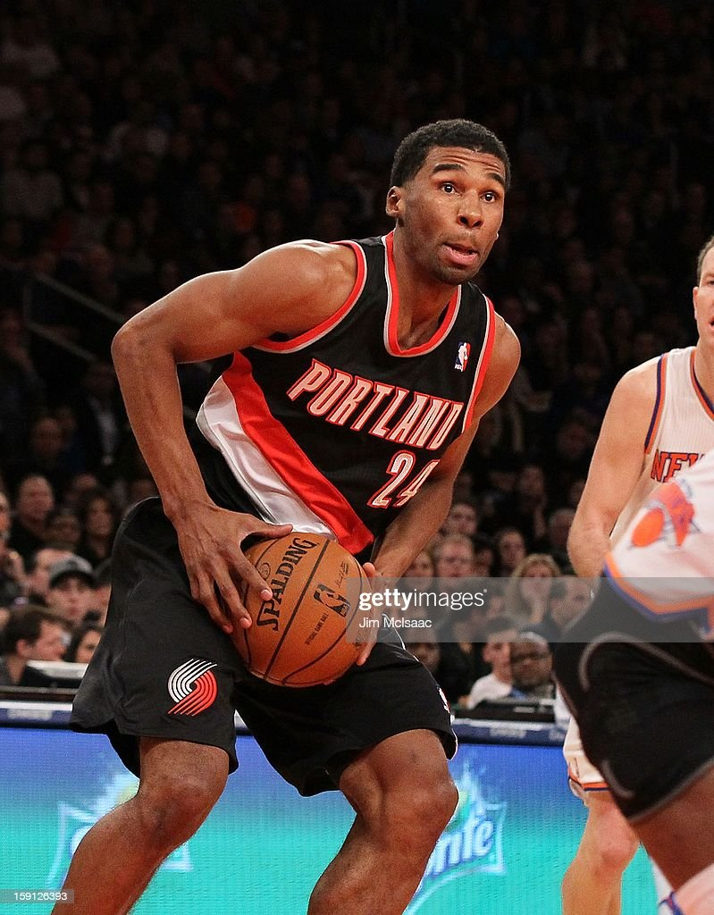 Ronnie Price #24 of the Portland Trail Blazers in action against the New York Knicks at Madison Square Garden on January 1, 2013 in New York City. The Trail Blazers defeated the Knicks 105-100.