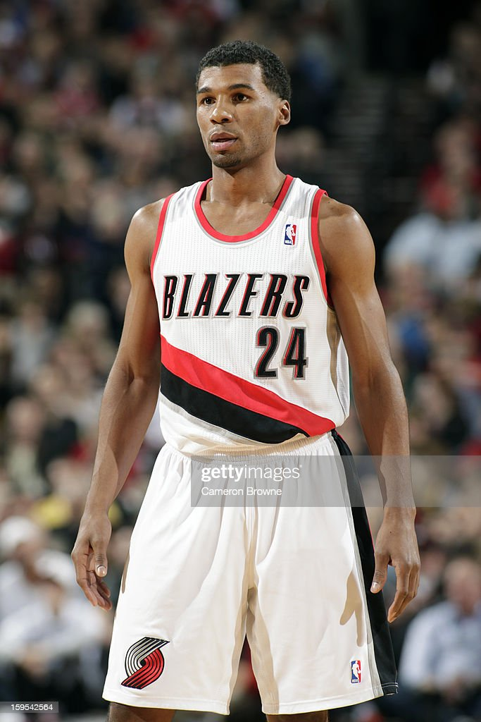 Ronnie Price of the Portland Trail Blazers looks on during the game against the Miami Heat on January 10 2013 at the Rose Garden Arena in Portland...