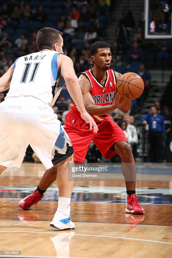 <a gi-track='captionPersonalityLinkClicked' href=/galleries/search?phrase=Ronnie+Price&family=editorial&specificpeople=654750 ng-click='$event.stopPropagation()'>Ronnie Price</a> #24 of the Portland Trail Blazers passes the ball against the Minnesota Timberwolves on January 5, 2013 at Target Center in Minneapolis, Minnesota.