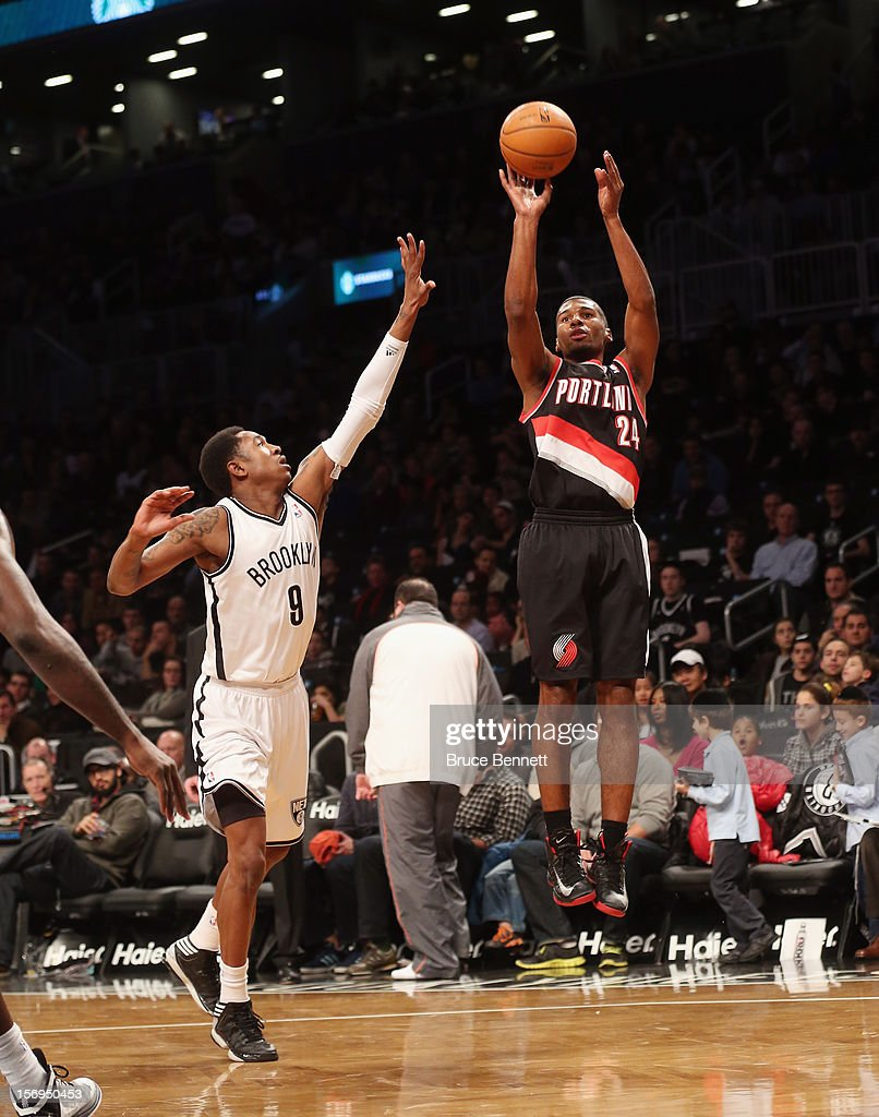 Ronnie Price #24 of the Portland Trail Blazers takes the shot against the Portland Trail Blazers at the Barclays Center on November 25, 2012 in the Brooklyn borough of New York City.