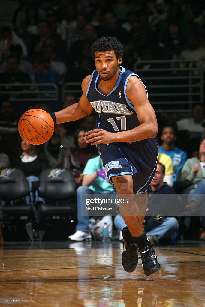 Ronnie Price of the Utah Jazz dribbles against the Washington Wizards during the game at the Verizon Center on March 27 2010 in Washington DC The...