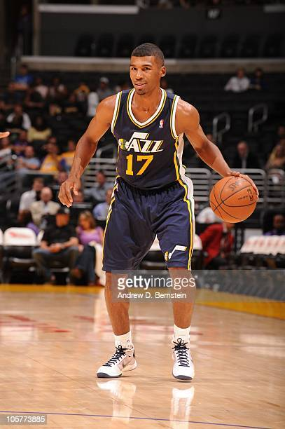 Ronnie Price of the Utah Jazz dribbles the ball during the NBA preseason game against the Los Angeles Clippers at Staples Center on October 16 2010...