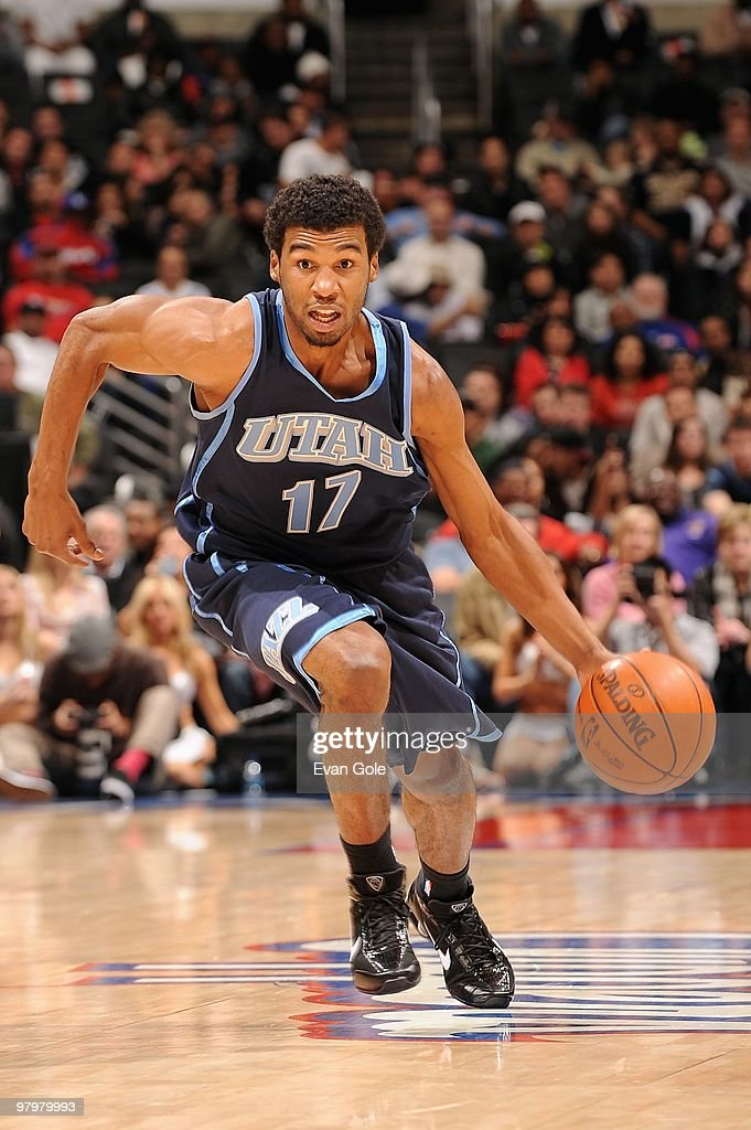 Ronnie Price of the Utah Jazz drives against the Los Angeles Clippers during the game on February 9 2010 at Staples Center in Los Angeles California...