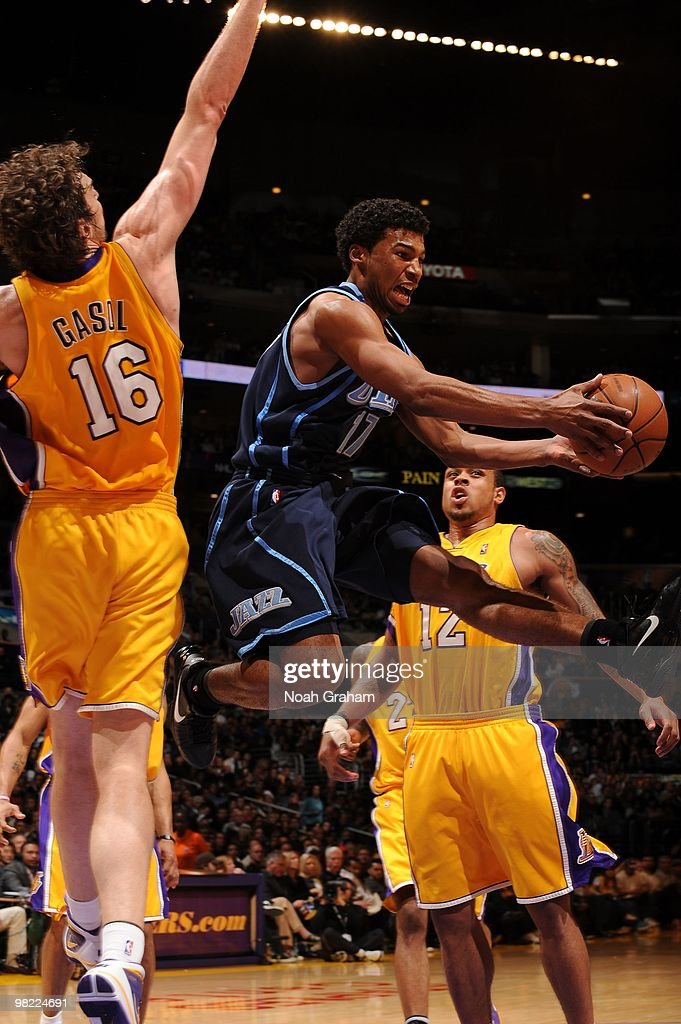 Ronnie Price of the Utah Jazz goes up for a shot against Pau Gasol of the Los Angeles Lakers at Staples Center on April 2 2010 in Los Angeles...