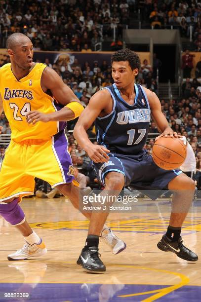 Ronnie Price of the Utah Jazz handles the ball against Kobe Bryant of the Los Angeles Lakers during the game on April 2 2010 at Staples Center in Los...