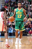Ronnie Price of the Utah Jazz handles the ball against the Houston Rockets during the game on February 27 2010 at EnergySolutions Arena in Salt Lake...