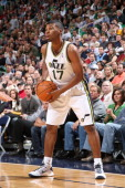 Ronnie Price of the Utah Jazz moves the ball agansint the San Antonio Spurs on November 19 2010 at EnergySolutions Arena in Salt Lake City Utah NOTE...