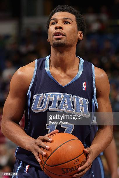 Ronnie Price of the Utah Jazz shoots a free throw against the Sacramento Kings during the game on February 26 2010 at Arco Arena in Sacramento...