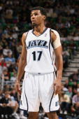 Ronnie Price of the Utah Jazz stands on the court during the game against the Memphis Grizzlies at EnergySolutions Arena on January 06 2010 in Salt...