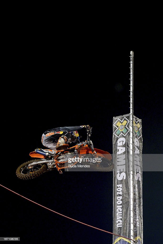 Ronnie Renner in action during Moto X Step Up at the X Games on April 19, 2013 in Foz do Iguacu, Brazil.