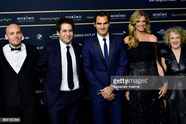 Ronnie Sandahl Festival director Karl Spoerri Roger Federer Festival director Nadja Schildknecht and Mayor of Zurich Corine Mauch attend the opening...