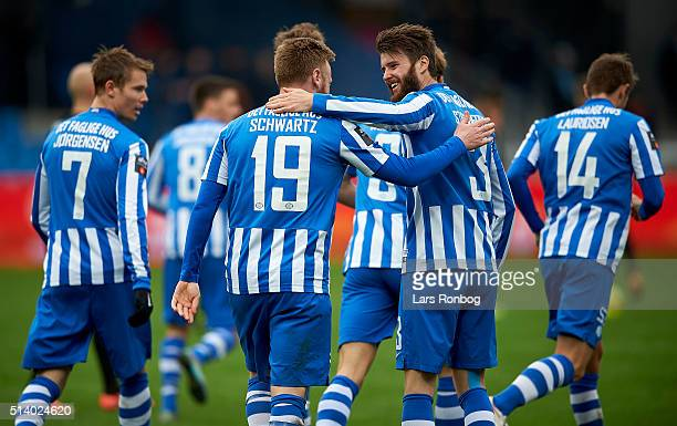 Ronnie Schwartz of Esbjerg fB celebrates with Daniel Stenderup after scoring their first goal during the Danish Alka Superliga match between Esbjerg...