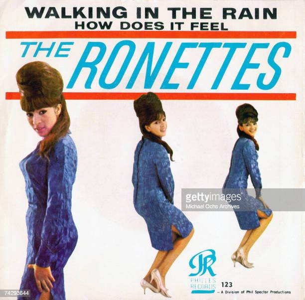 Ronnie Spector Estelle Bennett Vann and Nedra Talley Ross of the vocal trio 'Ronettes' pose for a portrait on the cover of the single for their hit...