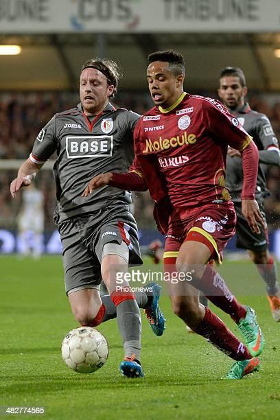Ronnie Stam of Standard and Theo Bongonda of ZulteWaregem during the Jupiler Pro League PlayOff 1 match between Zulte Waregem between Standard Liege...