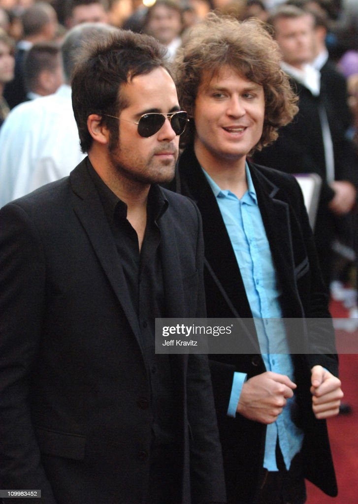 Ronnie Vannucci and David Keuning of The Killers during 2005 World Music Awards Arrivals at Kodak Theater in Hollywood California United States